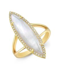 Anne Sisteron | Metallic 14kt Yellow Gold Diamond Mother Of Pearl Small Celeste Ring | Lyst