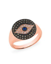 Anne Sisteron - Multicolor 14kt Rose Gold Diamond Sapphire Evil Eye Disc Camille Ring - Lyst