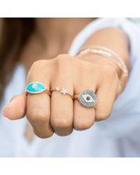 Anne Sisteron - Metallic 14kt White Gold Diamond Sapphire Evil Eye Disc Camille Ring - Lyst