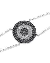 Anne Sisteron - Multicolor 14kt White Gold Diamond And Black Diamond Evil Eye Disc Bracelet - Lyst