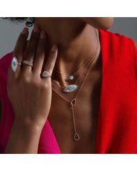Anne Sisteron Multicolor 14kt White Gold Diamond Open Double Pear Drop Necklace