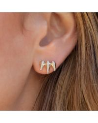 Anne Sisteron - Pink 14kt Rose Gold Diamond Fang Stud Earrings - Lyst
