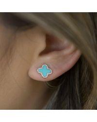 Anne Sisteron - Blue 14kt Rose Gold Diamond Turquoise Fleur Stud Earrings - Lyst