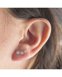 Anne Sisteron - Gray 14kt Yellow Gold Diamond Triple Starburst Earrings - Lyst