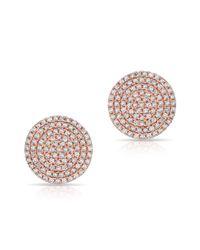 Anne Sisteron | Pink 14kt Rose Gold Diamond Luxe Disc Stud Earrings | Lyst