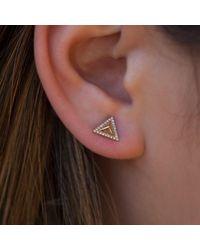 Anne Sisteron - Metallic 14kt Yellow Gold Diamond Triangle Pyramid Stud Earrings - Lyst