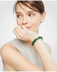 Ann Taylor - Green Hexagon Stone Stretch Bracelet - Lyst