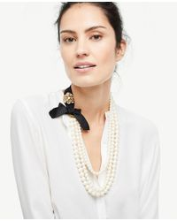 Ann Taylor - White Pearlized Ribbon Necklace - Lyst
