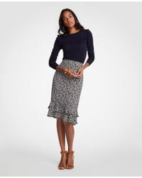 bf09785880caad Ann Taylor - Multicolor Tall Floral Ruffle Pencil Skirt - Lyst
