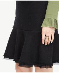 Ann Taylor - Black Textured Trim Flounce Skirt - Lyst