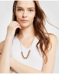 Ann Taylor - Crystal Metallic Slider Necklace - Lyst