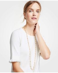 Ann Taylor - Pink Stone Station Necklace - Lyst