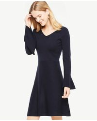 Ann Taylor | Blue Double V Flare Sweater Dress | Lyst