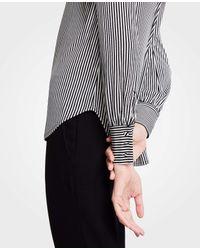 Ann Taylor - Black Petite Stripe Cuffed Top - Lyst