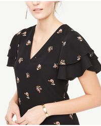 Ann Taylor | Black Tossed Floral Double Ruffle Sleeve Shift Dress | Lyst
