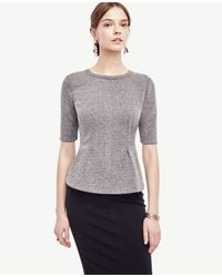 Ann Taylor - Gray Tweed Structured Peplum Top - Lyst