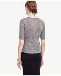 Ann Taylor - Gray Tweed Structured Peplum Top - Lyst