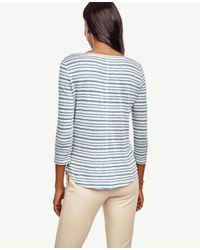 Ann Taylor - Blue Striped 3/4 Sleeve Linen Tee - Lyst