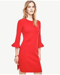 Ann Taylor | Red Fluted Sleeve Dress | Lyst