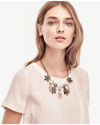Ann Taylor - Multicolor Crystal Burst Tassel Necklace - Lyst