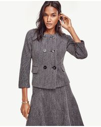Ann Taylor | Gray Petite Mod Double Breasted Jacket | Lyst