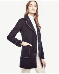 Ann Taylor | Blue Contrast Stitch Coat | Lyst