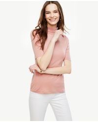 Ann Taylor | Pink Short Sleeve Turtleneck | Lyst