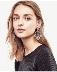 Ann Taylor | Metallic Floral Hoop Earrings | Lyst