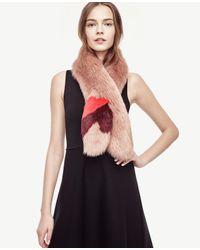 Ann Taylor | Multicolor Colorblock Furry Stole | Lyst