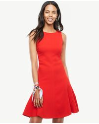 Ann Taylor | Red Strappy Back Flare Dress | Lyst