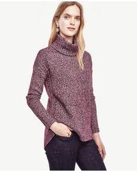 Ann Taylor | Purple Hi-lo Turtleneck Sweater | Lyst