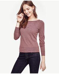 Ann Taylor | Purple Petite Striped Extrafine Merino Wool Tie Back Sweater | Lyst