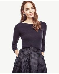 Ann Taylor | Blue Wool Cashmere Boatneck Sweater | Lyst