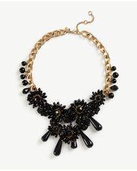Ann Taylor | Black Flower Charm Statement Necklace | Lyst