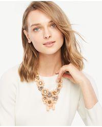 Ann Taylor - Multicolor Flower Charm Statement Necklace - Lyst