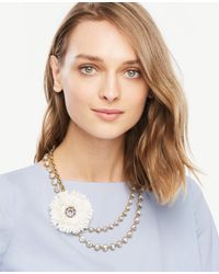 Ann Taylor | White Raffia Statement Necklace | Lyst