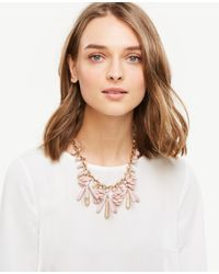 Ann Taylor - Pink Disc Charm Statement Necklace - Lyst