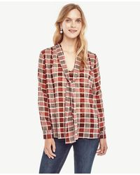 Ann Taylor | Red Plaid Tie Neck Blouse | Lyst