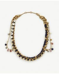 Ann Taylor | Multicolor Jeweled Rope Chain Necklace | Lyst