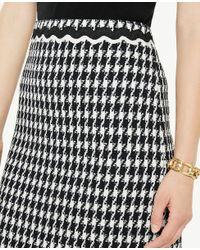 Ann Taylor - Black Houndstooth Fringe A-line Skirt - Lyst