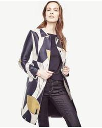 Ann Taylor | Blue Petite Calla Lily Jacquard Coat | Lyst