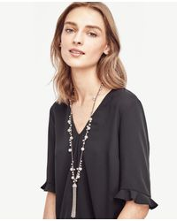 Ann Taylor - White Pearlized Tassel Necklace - Lyst