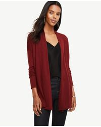 Ann Taylor | Red Wool Blend Open Cardigan | Lyst