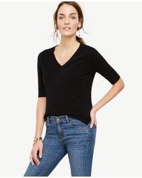 Ann Taylor | Black Cashmere Short Sleeve V-neck Sweater | Lyst