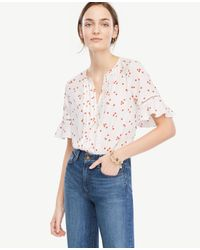 Ann Taylor | White Petite Floral Pintucked Flutter Sleeve Top | Lyst