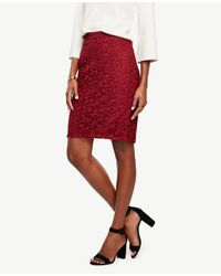 Ann Taylor | Red Petite Lace Pencil Skirt | Lyst