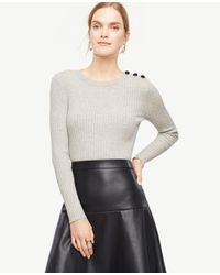 Ann Taylor | Gray Shoulder Button Ribbed Sweater | Lyst