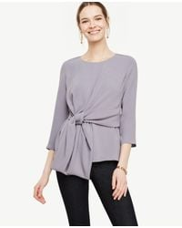 Ann Taylor   Purple Knot Front Top   Lyst