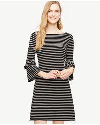 Ann Taylor | Black Striped Ponte Flare Sleeve Dress | Lyst