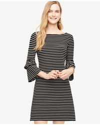 Ann Taylor   Black Petite Striped Ponte Flare Sleeve Dress   Lyst